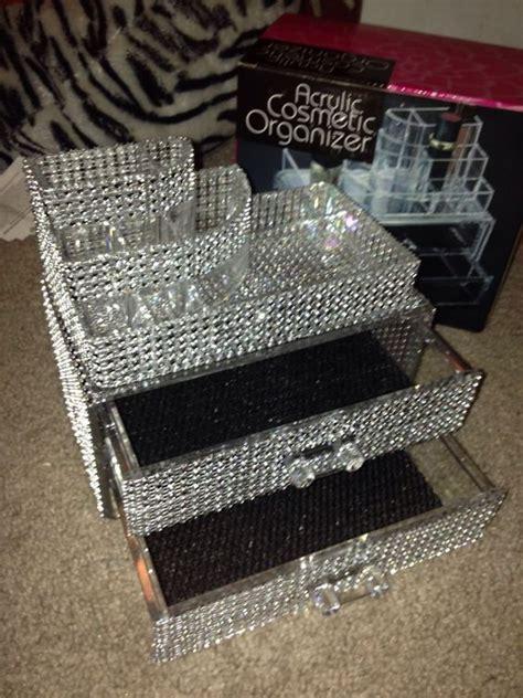 diy rhinestone bling acrylic cosmetic organizer