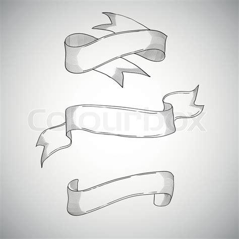 vintage ribbons decorative design element hand drawn