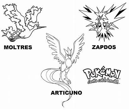 Pokemon Legendary Coloring Pages Articuno Zapdos Number
