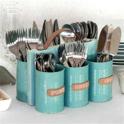 home dzine craft ideas recycled can cutlery holder