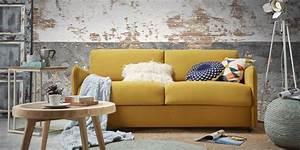 Canapé Convertible Jaune : canap convertible jaune moutarde maison et mobilier d 39 int rieur ~ Teatrodelosmanantiales.com Idées de Décoration