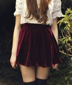 burgundy velvet skirt retro style high waist pleated skirt glamup clothing on artfire