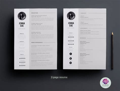minimal  page resume design  page cv template cover