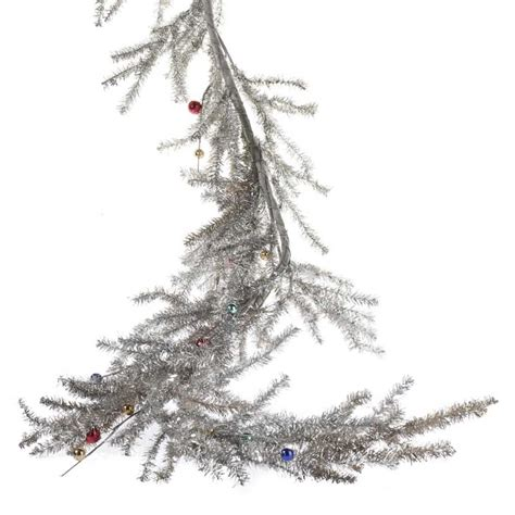 silver tinsel pine and bead ornament garland christmas