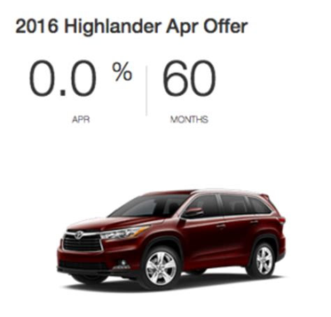 Toyota 0 Apr by Purchase A New Highlander With 0 Apr For 60 Months At