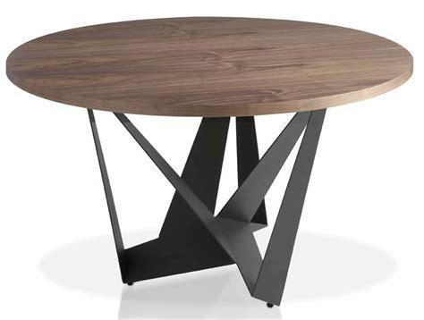 table moderne ronde acier gris fonc 233 et bois noyer arka dimensions d 110 x h 76 cm lestendances fr