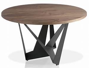 Table Bois Ronde : table moderne ronde acier gris fonc et bois noyer arka dimensions d 110 x h 76 cm ~ Teatrodelosmanantiales.com Idées de Décoration