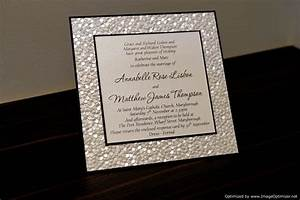 sample black ivory white pebble embossed by With embossed wedding invitations etsy