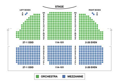 Music Box Theatre Large Broadway Seating Charts
