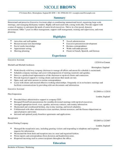 Cv Template For Admin Assistant by Executive Assistant Cv Template Cv Sles Exles