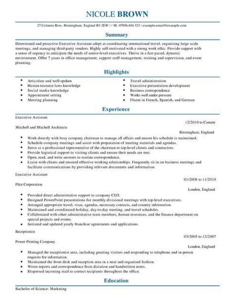 executive assistant cv template cv sles exles