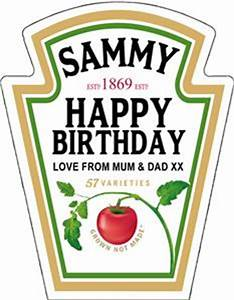 personalised spoof ketchup bottle label birthday any With heinz label template