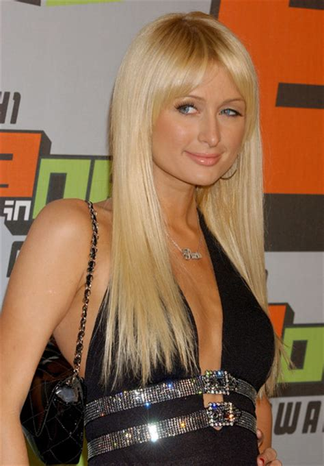 paris hilton long platinum blonde   hair