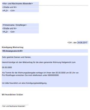 kündigung mietvertrag musterbrief mietvertrag k 252 ndigen kostenlose vordrucke de