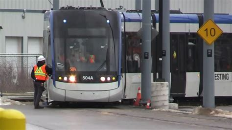 LRT vehicle brought onto track for powered testing   CTV