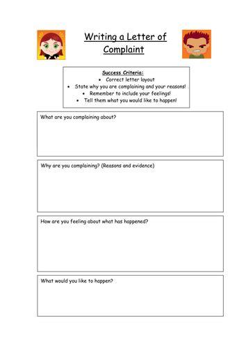 letter  complaint planning frame  kez teaching