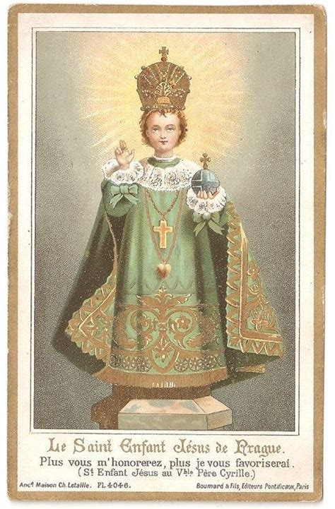 Holy Infant Of Prague Antique French Goldprint Holy Prayer
