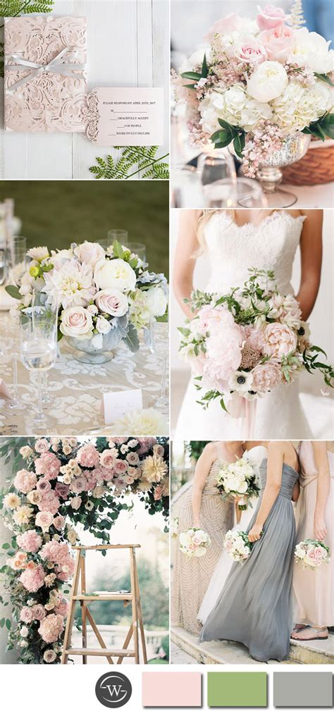 beautiful pink  grey wedding color combos