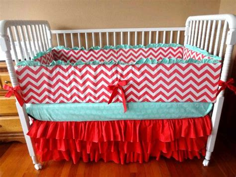 coral chevron and mint crib bedding with by