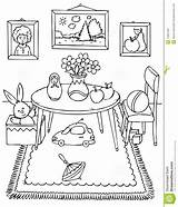 Coloring Worksheets Pages Messy Bedroom Toys Dining Table Printable Living Cartoon Children Teaching Hygiene Personal Kindergarten Activities Bedrooms Chair Books sketch template