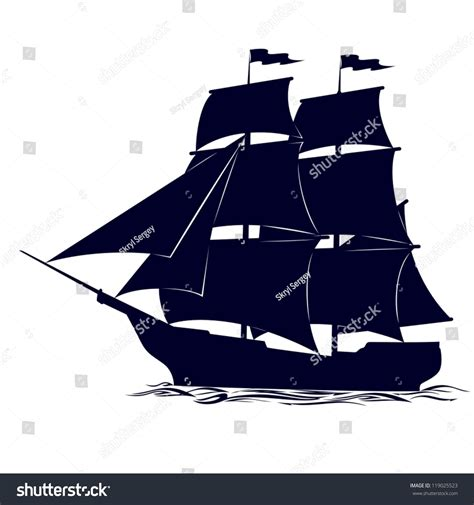 Old Sailboat Outline by Old Sailing Ship Illustration On White Stock Vector
