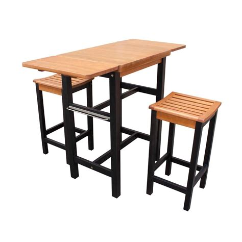 Wooden Island Stools by Northbeam 3 Dual Toned Wood Kitchen Island Set With