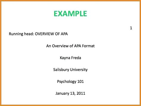 Apa Cover Page Template Word 2007