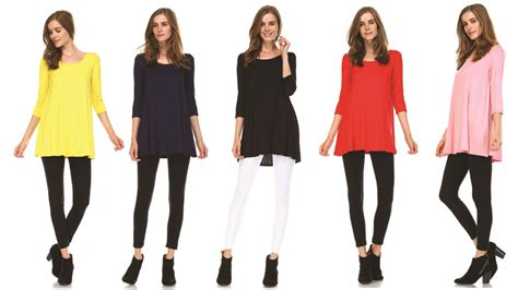Tunic Top For Leggings For Women 3 4 Sleeve Swing Dress Top Made In Usa