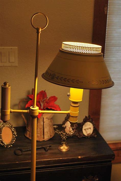 vintage  tole floor lamp  mustard yellow floor