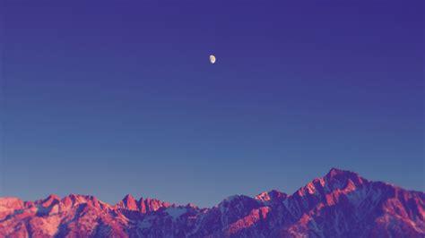 Hd Snowy Mountain Wallpaper Landscape Simple Nature Moon Shadow Mountain Snowy Peak Sky Clear Sky Sunset Sunlight
