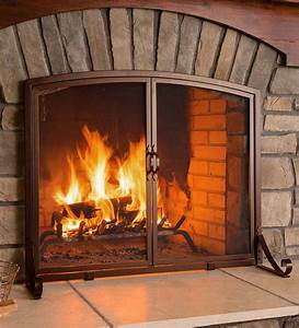 Arched, Top, Flat, Guard, Fireplace, Screen, With, Doors, Large