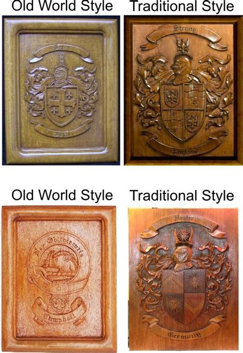 coat  arms wood carvings  custom carved wood plaques
