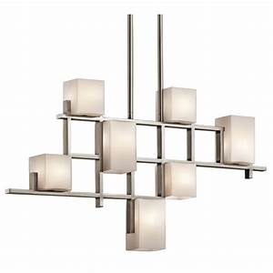 Modern Art Deco Linear Ceiling Light, Pewter Grid, Opal