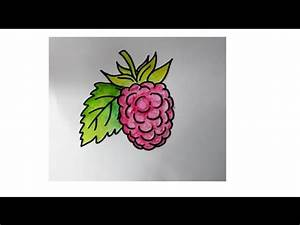 how to draw a raspberry fruit - YouTube