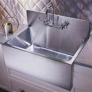 Kitchen sinks large apron basins with steel backsplash for Stainless steel sink with backsplash