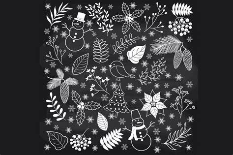 chalkboard winter time illustrations  creative market