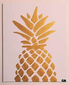 Gold Metallic Pineapple Painting READY TO SHIP 8x10 Acrylic
