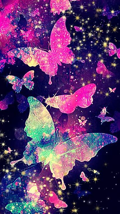 Butterfly Glitter Wallpapers Backgrounds Iphone Galaxy Stars