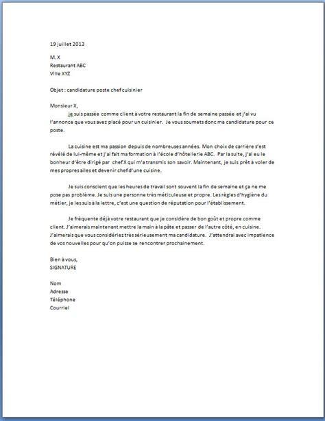 emploi formateur cuisine lettre de motivation chef cuisinier lettre de motivation