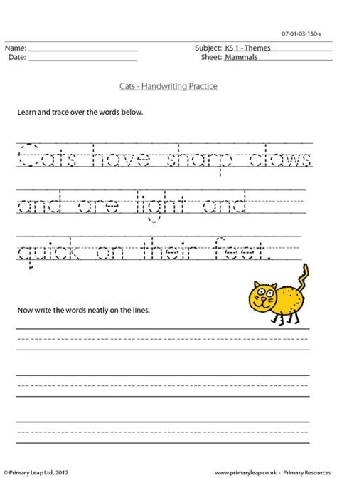 handwriting practice worksheet for ks1 pupils trace