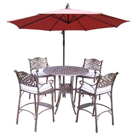 oakland living 6 cast aluminum patio bar height