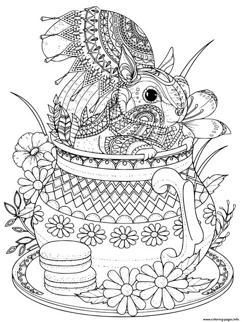 Adult Squirrel Cute In A Teapot Coloring Pages Printable