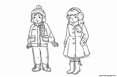 Coloring Colouring Clothes Winter Pages Boy Clothing