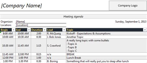 meeting planner template excel planner template