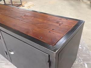 Meuble Bois Fer : meuble fer bois industriel ~ Melissatoandfro.com Idées de Décoration