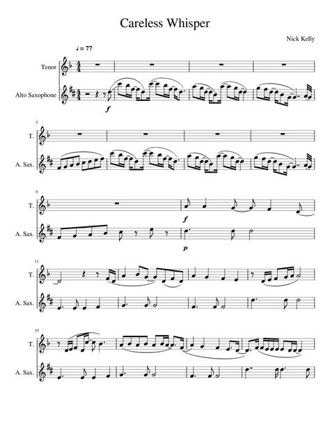 Sheet music for the song careless whisper for bb tenor saxophone. Careless Whisper sheet music for Voice, Alto Saxophone ...