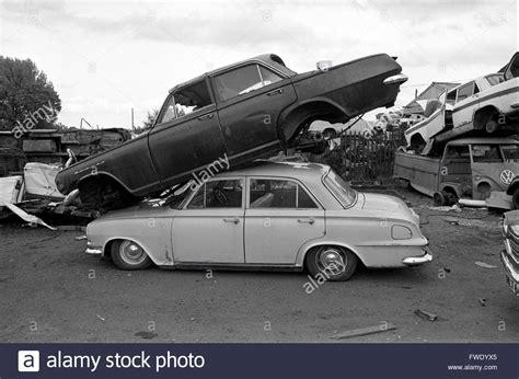car cars scrapyard britain  stock photo royalty