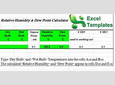 Dew Point Calculator Excel Dew Point Calculator