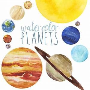 Watercolor Planets Clip Art set, Solar System, Science ...