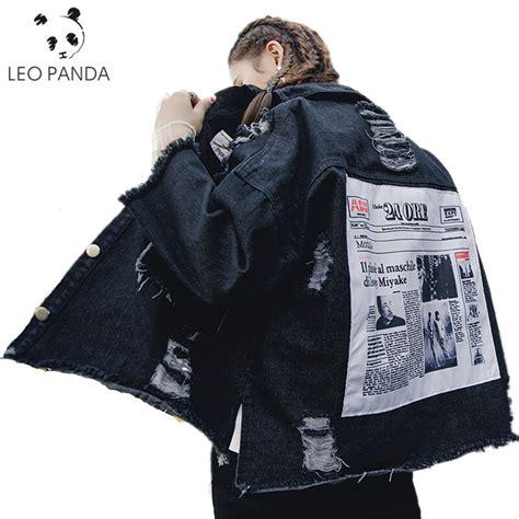 2019 autumn oversized jacket sequin jean jacket coat ripped